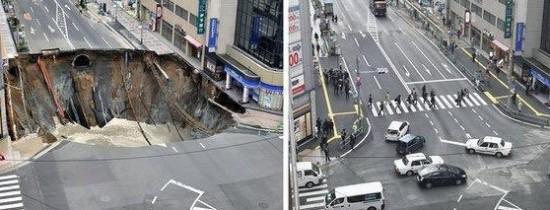 """""""Minunea japoneză"""" a durat doar două săptămâni. Gaura uriaşă, care a înghiţit o intersecţie din Fukuoka, a apărut din nou"""